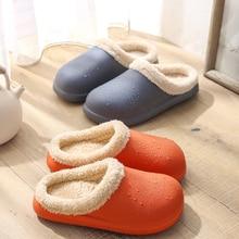 2021 New Winter Slippers Warm Women Shoes Waterproof Couples Non-Slip Plush Cotton Indoor Outdoor Co