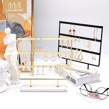 Soporte organizador de joyas con 3 niveles y 30 agujeros, soporte de exhibición para pendientes con Base de mármol, estante de almacenamiento de collares para joyas