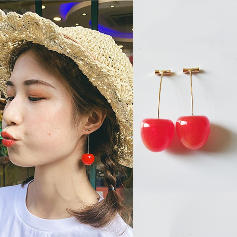 Estilo simples vinho tinto cereja fresco colordropshipping earringsun praia festa menina moda jóias dropshipping cristal presente feliz