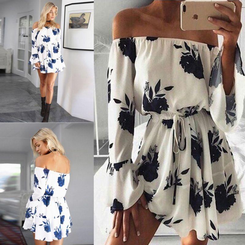 2021 Women Sexy floral Dress Summer Split Maxi Beach Sundress Off Backless Dress Boho Short Dresses Vestidos Femme