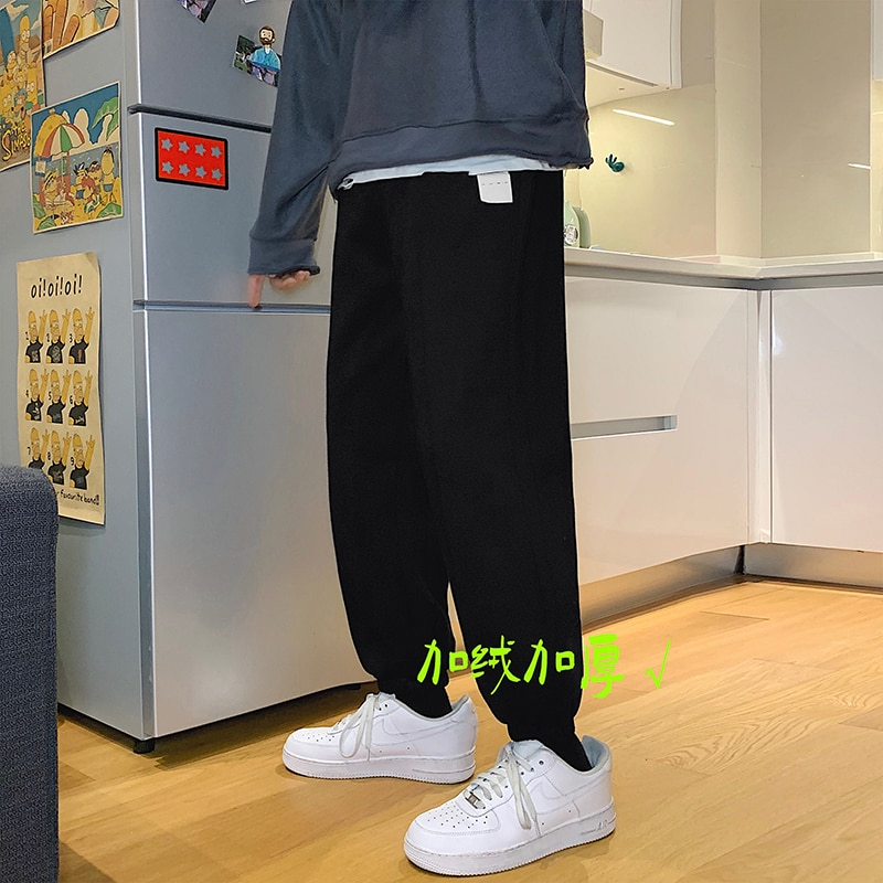 Fleece-Lined Track Men's Loose-Fit Tappered Trousers Autumn and Winter Hong Kong Style Casual Pants