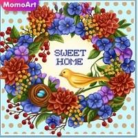 MomoArt     peinture de fleurs  broderie complete 5D  strass carres  points de croix  decoration dinterieur