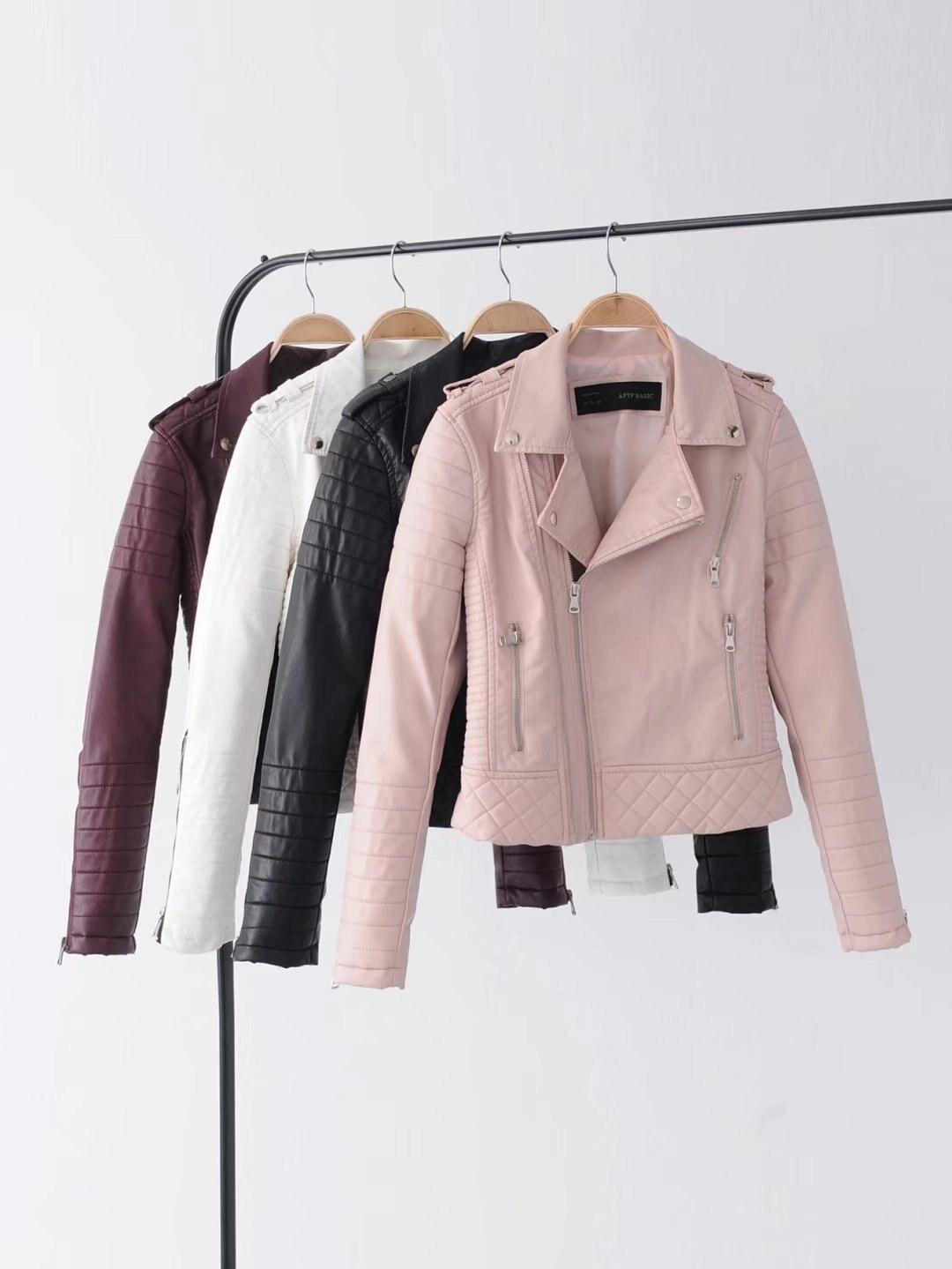 New women's fashion lapel zipper women's leather jacket women's jacket pure color fashion women's jacket women's jacket