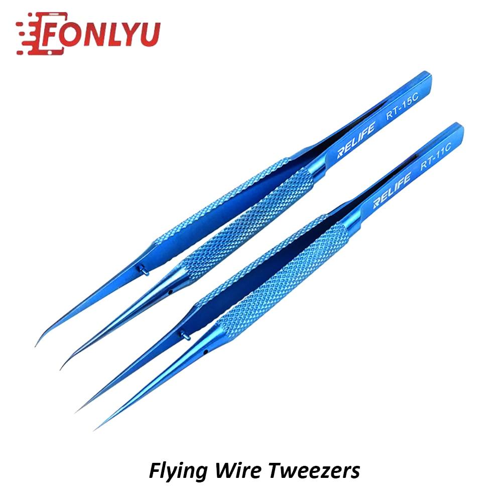 RELIFE Titanium Alloy Precision Flying Wire Blue Tweezers For Mobile Phone Soldering Motherboard BGA Fingerprint Repair Tool Set