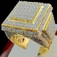 new trendy bohemian crystal inlaid ring mens ring geometric shape austrian rhinestone pav ring accessories party jewelry