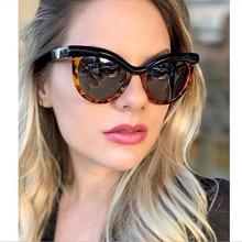 SOPRETTY 2020 New Fashion Women Big Cat Eye Sunglasses Female Color-block Half-frame glasses S5212