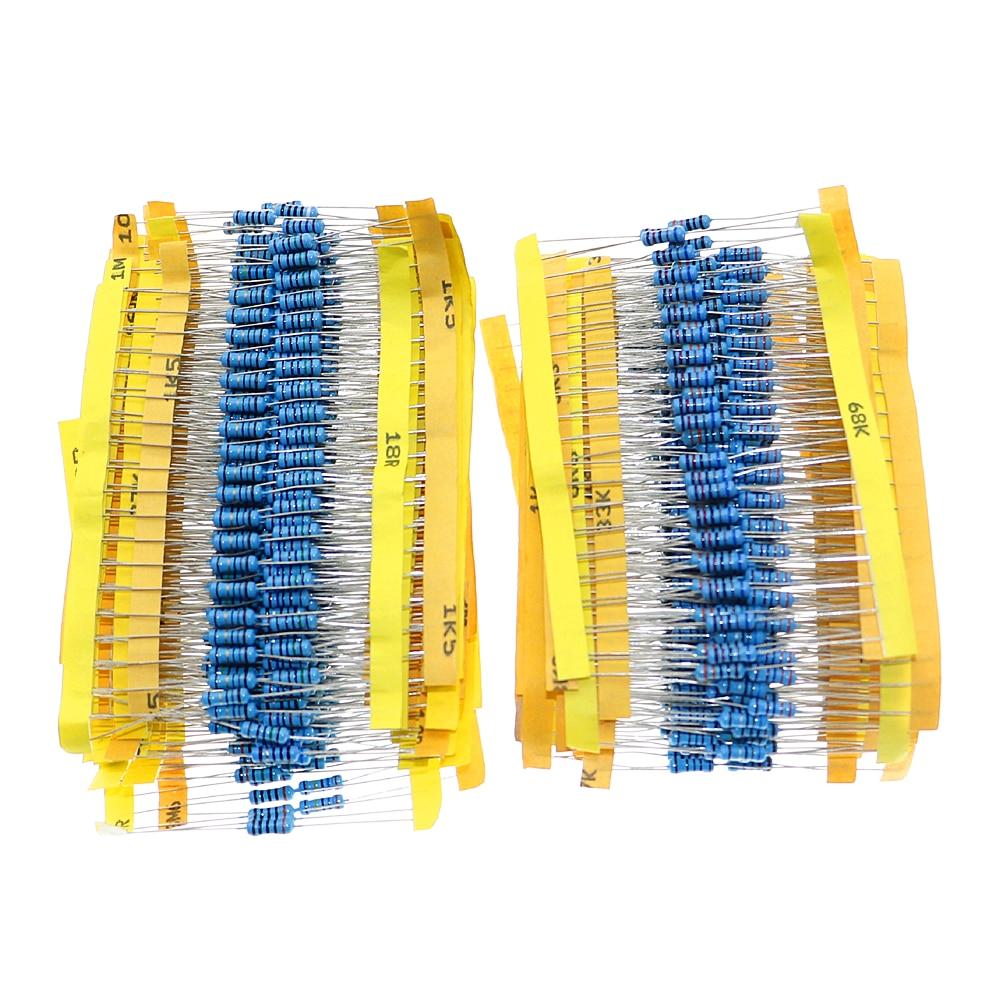 1000Pcs 1% 1/50 2W 0.5W De Metal Filme Resistor Valores Capacitor Assorted Kit 0.1 ohm ~ 4.7M ohm