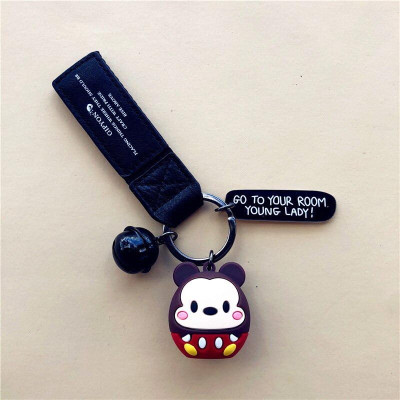Creative Personality Couple Keychain Cute Cartoon Car Key Mobile Phone Backpack Pendant Ring Creative Mouse New Product2021  - buy with discount