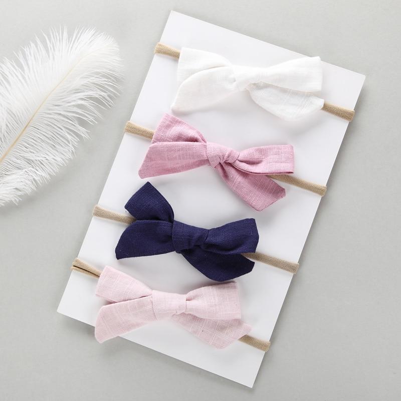 4 pcs/lot Hand Tied Cotton Linen Hair Bow Nylon headband School Girl Headbands Baby Accessories Shower Gifts