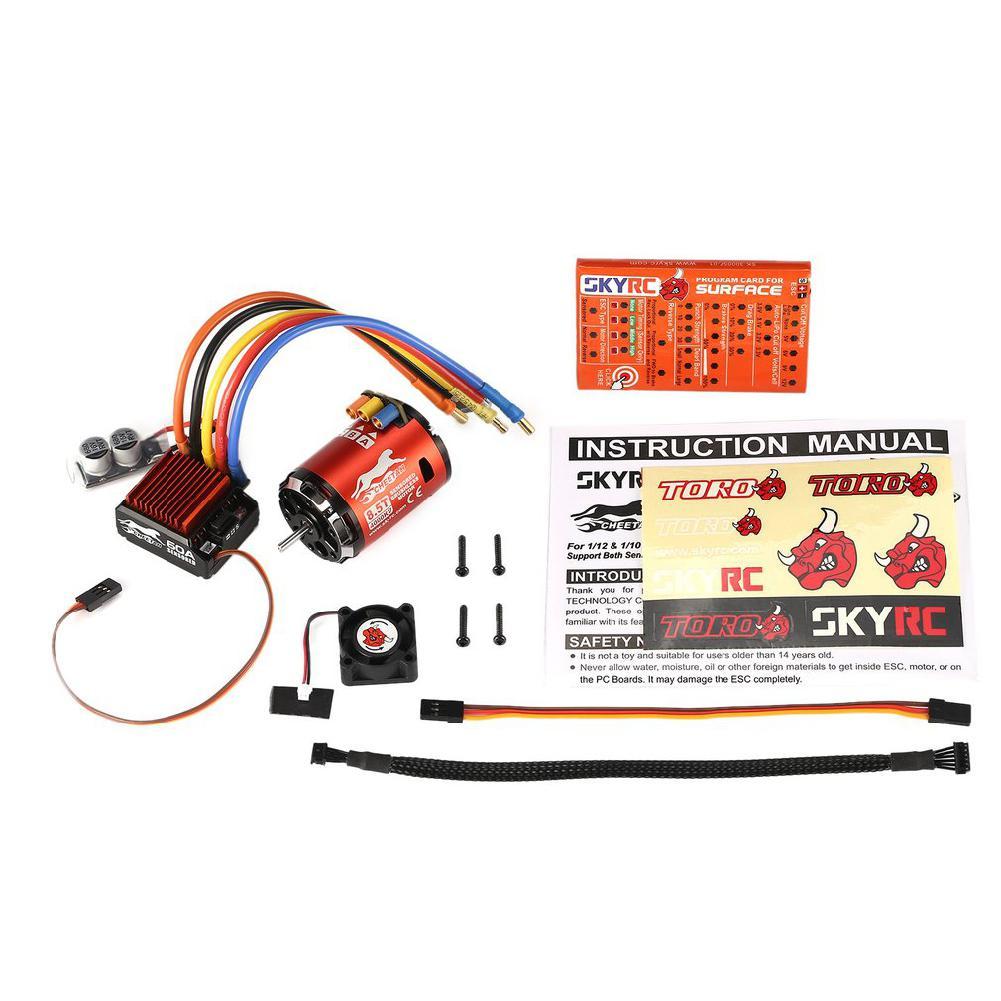 Skyrc 4000kv 8.5 t 2 p sensored brushless motor cs60 60a esc sensored led programa cartão conjunto de combinação para 1/10 1/12 rc carro buggy