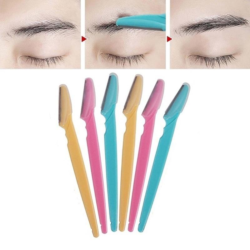 6pcs/set Women Eyebrow Trimmers Blades Hair Remover Shaver Face Eyebrow Razor Epilator Portable Make