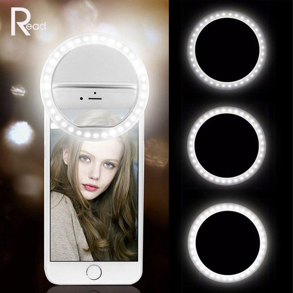LED Selfie حلقة ضوء ملء ضوء المحمول USB تهمة الهاتف ومضات عدسة مصابيح مضيئة كليب خواتم ضوء آيفون شاومي هواوي