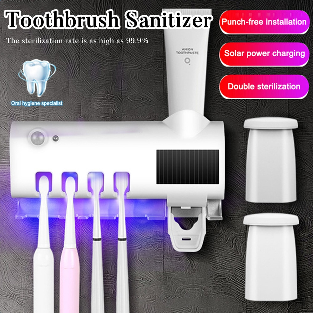 UV Toothbrush Holder Automatic Toothpaste Squeezer Wall-mount Toothpaste Dispenser Home Bathroom Accessories enlarge