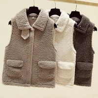 lamb plush vest womens spring and autumn new coat korean version of the wild waistcoat one piece waistcoat trend
