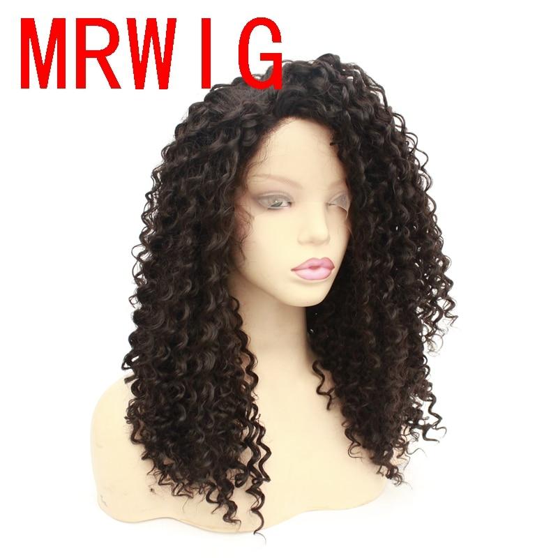 MRWIG pelucas rizadas de Color negro/marrón oscuro pelucas de pelo de fibra resistente al calor peluca con malla frontal sintética