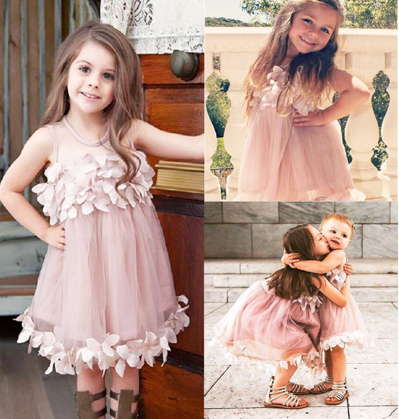 Toddler Girls Dress Flower Kids Baby Girl Clothes Princess Dress Bridesmaid Dresses Wedding Dress Tulle Party Formal Clothes
