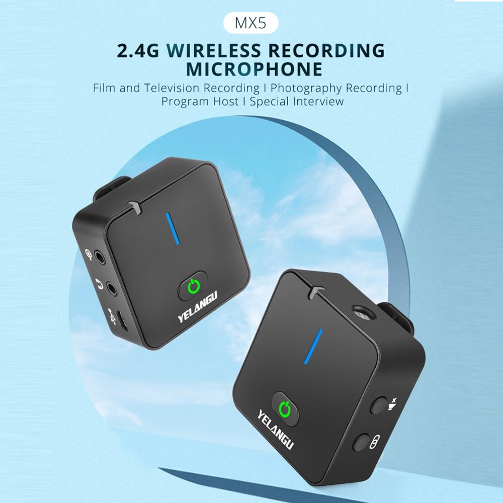 YELANGU Portable Wireless Microphone Set 2.4G Vlog Video Recording Mic for Mobile Phone PC enlarge