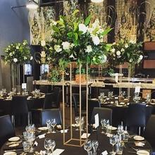 Wholesale Gold Iron Flower Stand Centerpiece Wedding Decoration Floor Vases 60 cm 80 cm tall Display Rack Table Top Decor