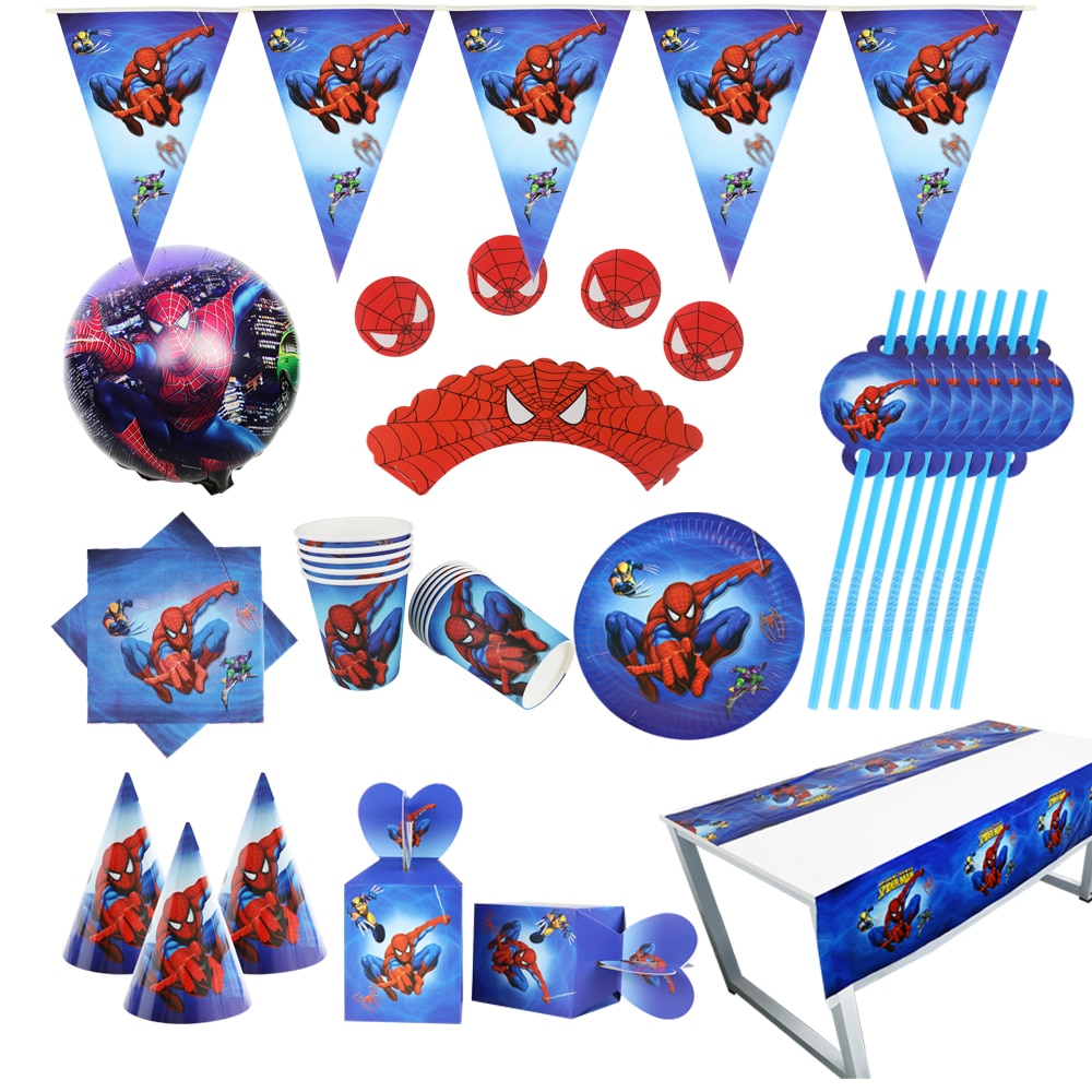 Spider man Party supplies Set Box Napkins Plates Tablecloth Cups Knives Forks Spoons Spiderman Birthday Decoration Kids