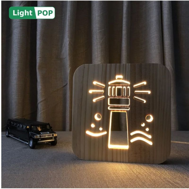 farol led modelagem luz da noite 3d criativo produto eletronico presente oco solido