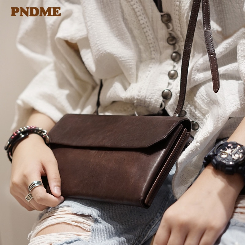 PNDME simple retro genuine leather ladies messenger bags fashion casual natural cowhide women's weekend party small shoulder bag