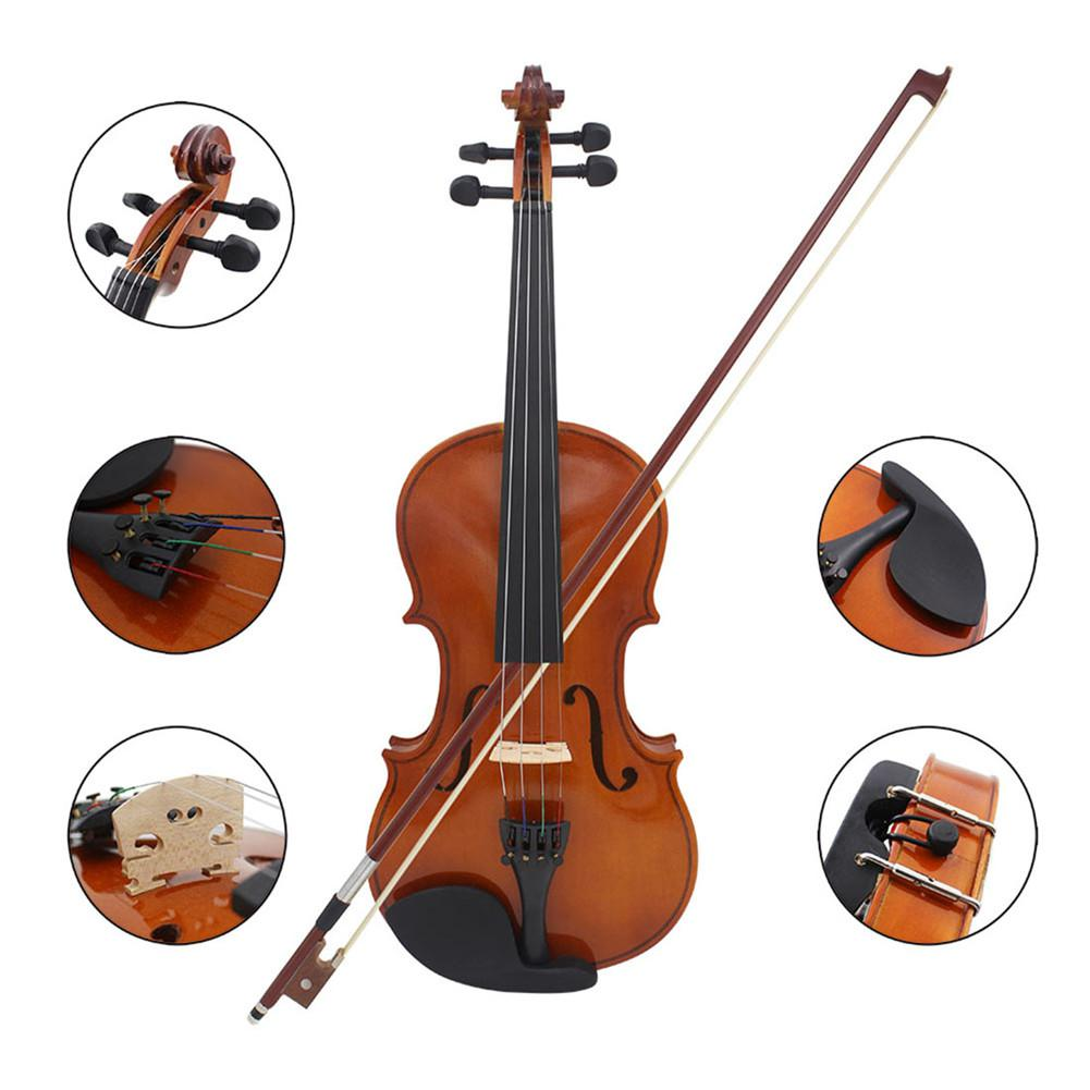 4/4 81.0*26.0*12.0cm Violin Natural Acoustic Solid Wood Spruce Flame Maple Veneer Violin Fiddle with Cloth Case Rosin Sets enlarge