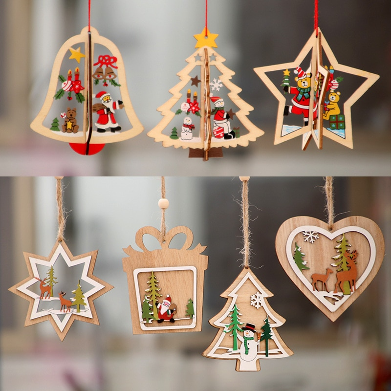 Christmas Decorations Wooden Christmas Laser Hollow Christmas Tree Small Pendant Wooden Five-pointed Star Bell Pendant Gift