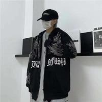 korean fashion dark flame print hooded sweater cardigan plus fleece jacket harajuku female sweatshirt oversized hoodie