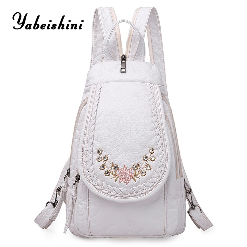 High Quality Backpack for Women 2020 New White Leather Backpack School Bag for Teenage Girls Female Travel Backpack Mochila