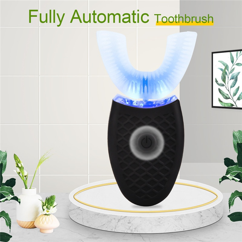 CkeyiN 360 Degree Automatic Sonic Rechargeable Toothbrush Washable Teeth Whitening Toothbrush U Shape 4 Mode Teeth Cleaning enlarge