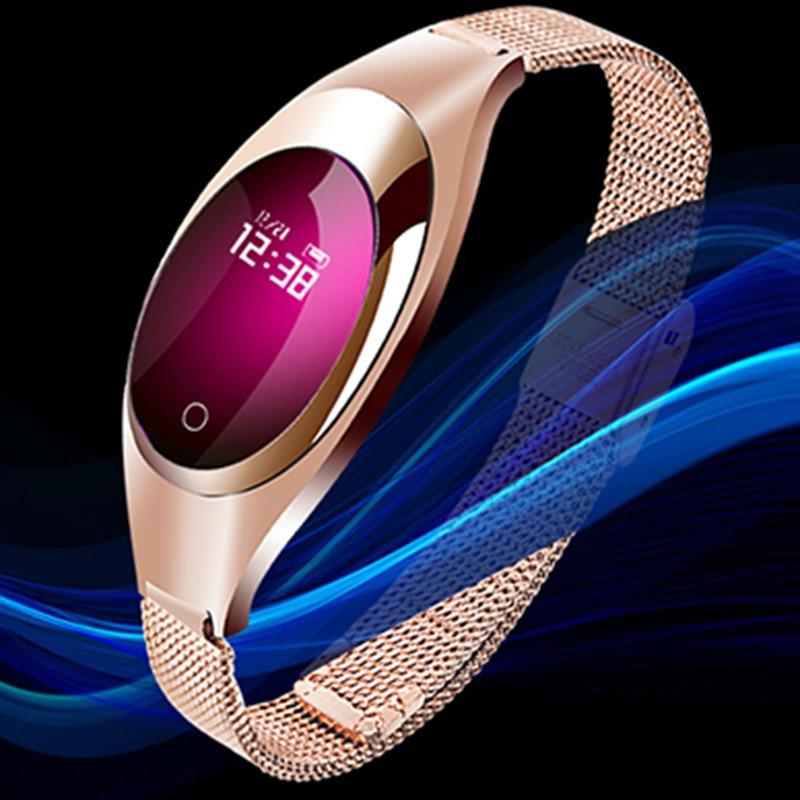Pulsera inteligente deportiva, pulsera deportiva negra con control del ritmo cardíaco y de la presión sanguínea y del oxígeno para mujer