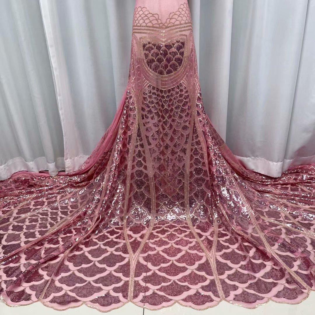 2021 كلاسيكي فاخر متفوقة الجودة أنيقة التطريز الأفريقي الترتر نسيج من التول والدانتيل لفستان الزفاف NN573-U