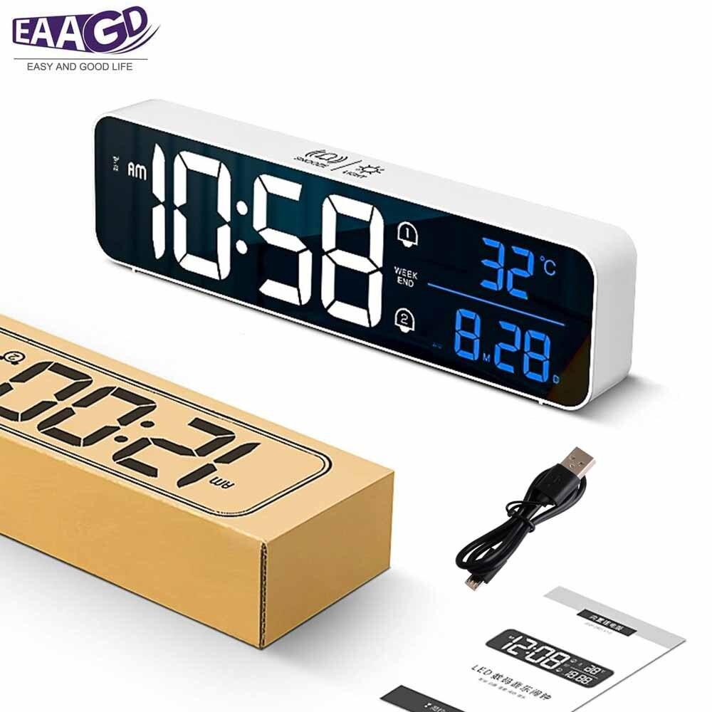 Digital Alarm Clock Electronic LED Display 2 Alarm Settings Temperature Detect Snooze Clock USB Charging Port for Bedroom Office