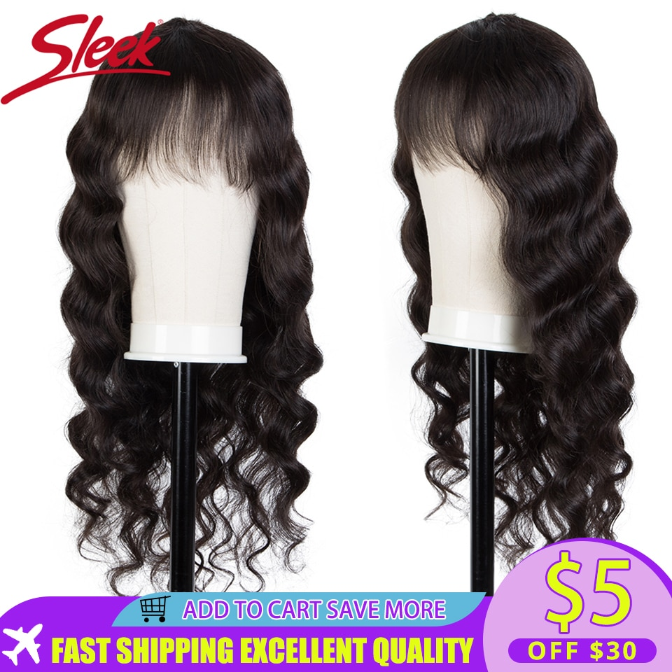 AliExpress - Sleek Human Hair Wigs For Women Bob Wig With Bangs Loose Wave Human Hair Wigs Remy Brazilian Hair Wigs Body Wave Short Wigs