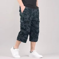 long length cargo shorts men summer casual cotton multi pockets hot breeches cropped trousers military camouflage shorts 5xl