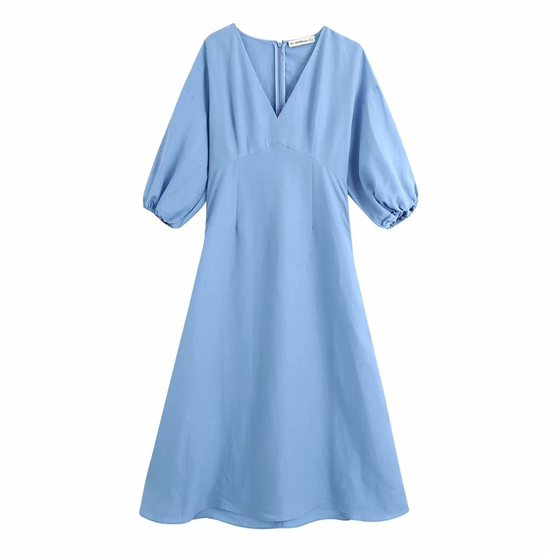2020 Za Linen Midi Dress Women V-neck Puff Short Sleeve Elastic Cuff Summer Dresses Back Hidden Zip Elegant Solid Dress Everyday