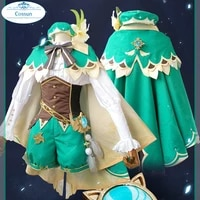 anime genshin impact venti game suit green lovely uniform with cloak hat cosplay costume halloween outfit for women girls 2020 n