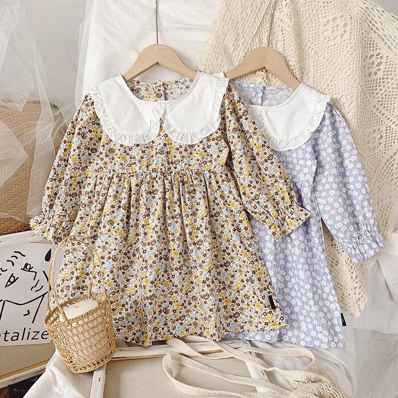 Sweet Kids Girls primavera otoño Floral vestido para muñeca con cuello Candy azul y amarillo Color moda occidental Vintage niños vestido
