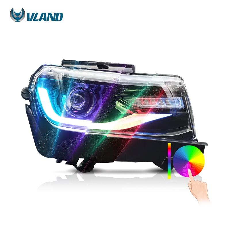 VLAND Factory بالجملة RGB LED المصابيح الأمامية الأمامية 2014 2015 DRL 5th Gen متتابعة بدوره إضاءة أمامية لشروليه كامارو