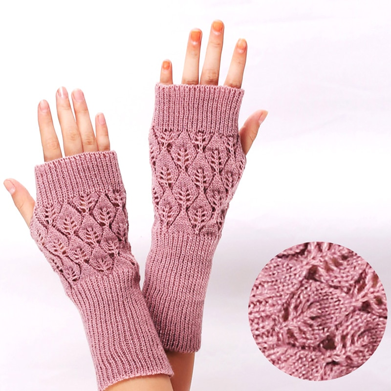 Вязаные эластичные рукавицы на полпальца, зимние теплые перчатки без пальцев, вязаные крючком рукавицы для девочек, Зимние перчатки для жен...