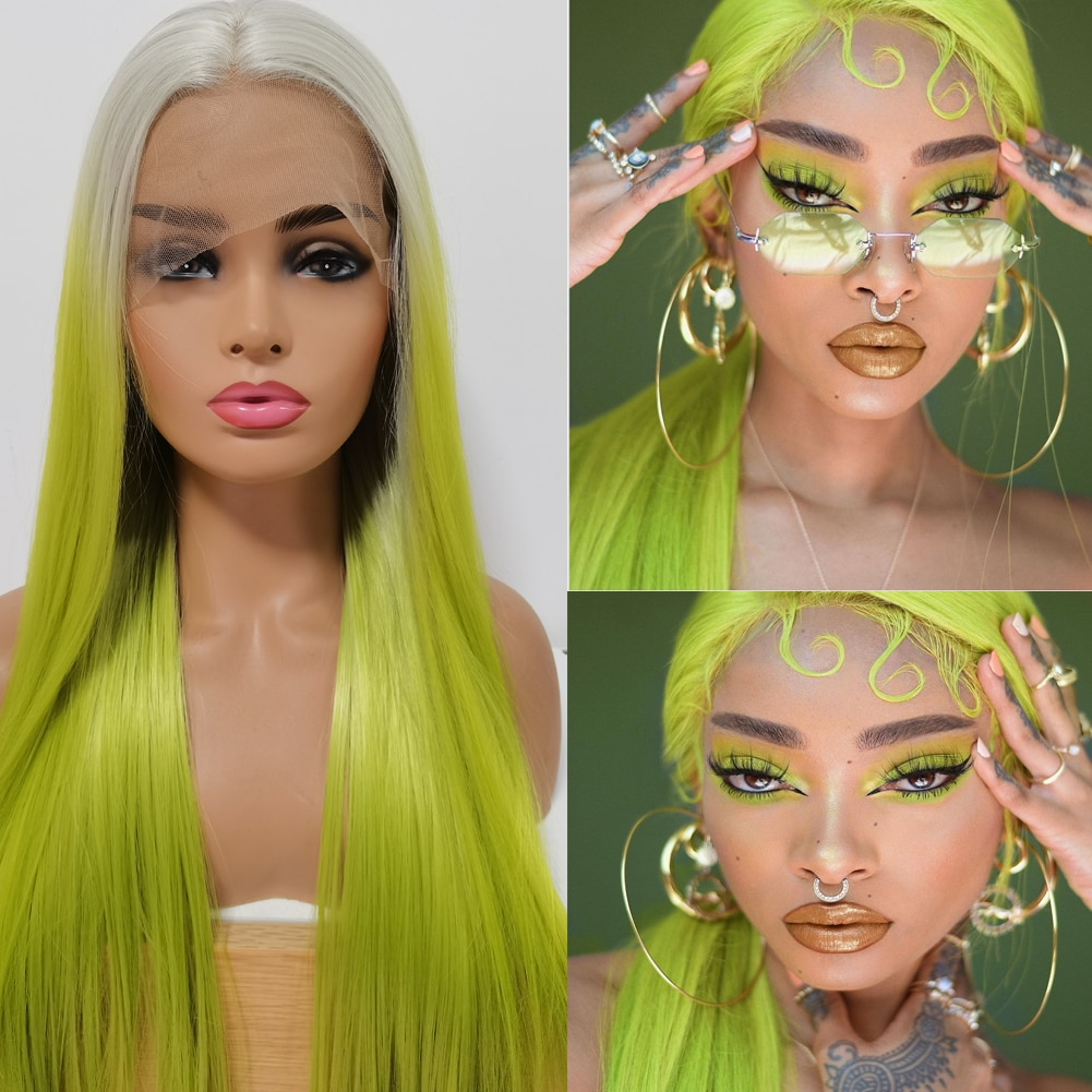 DLME  Lace Front Wigs Glueless Ombre Green Long Straight Lace Wig High Temperature Green  Braided  Lace Front Wigs For Woman