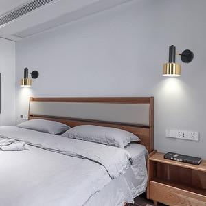 American Modern Hanging Bedside Wall Lamp E27 Base Black Gold Metal Wall Bracket Light for Bedroom Living Room Stair Lighting