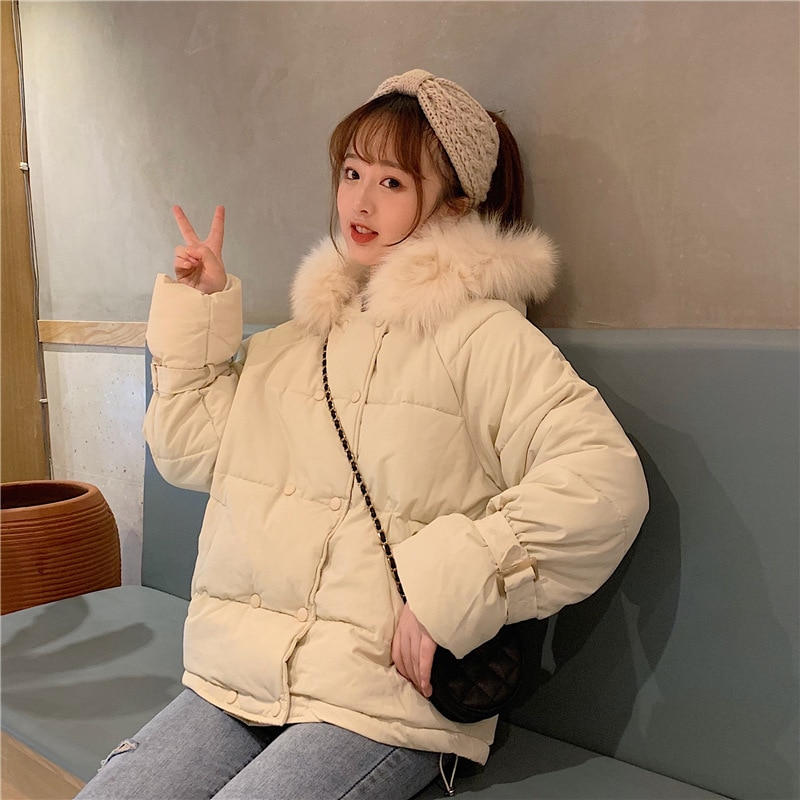 2020 Hooded Women Winter Down Jacket Coat Plus Size Fur Collar Short Thicken Warm Cotton Padded Winter Coat Women's Clothing