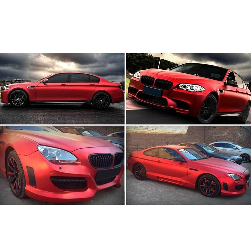 Satinado mate cromo metálico rojo vinilo película coche pegatina burbuja resistente al desgaste nuevo