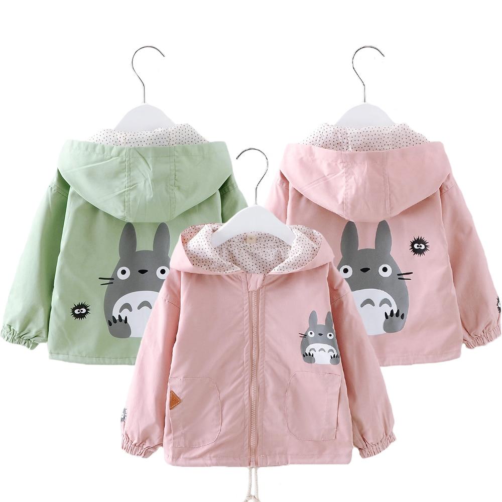 Toddler Kids Coats Cartoon Totoro Hoodies Windbreaker For Girl Spring Autumn Children Cute Outerwear Girl's Birthday Present