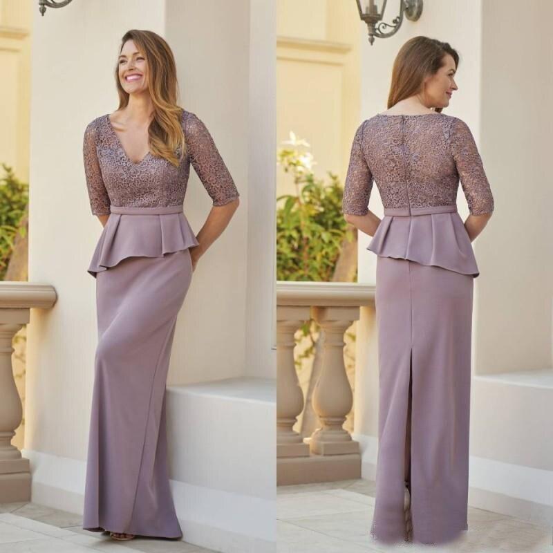 New Elegant Sheath Lace Half Sleeve Plunge V Neckline Mother of the Bride Dresses With Peplum Wedding Guest Gowns Back Slit