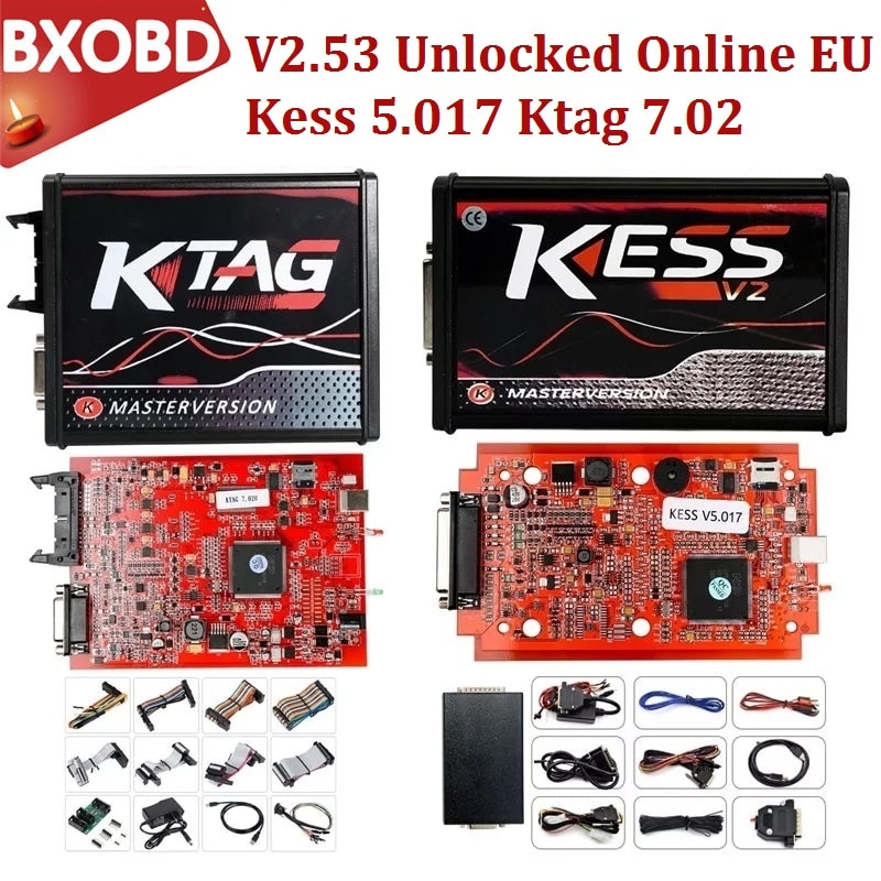 Rojo en línea V2.53 Kess V2 V5.017 V2.47 OBD2 Kit de sintonización gerente V2.25 Ktag 2019 Galletto V54 Kess v2 5.017 adaptador completo Ktag BDM