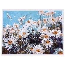 HOT-DIY Ölgemälde Farbe Durch Zahl Kit Bild Zeichnung Auf Leinwand Durch Hand Färbung Kunst Handwerk & Nähen NEUE Weiß gänseblümchen