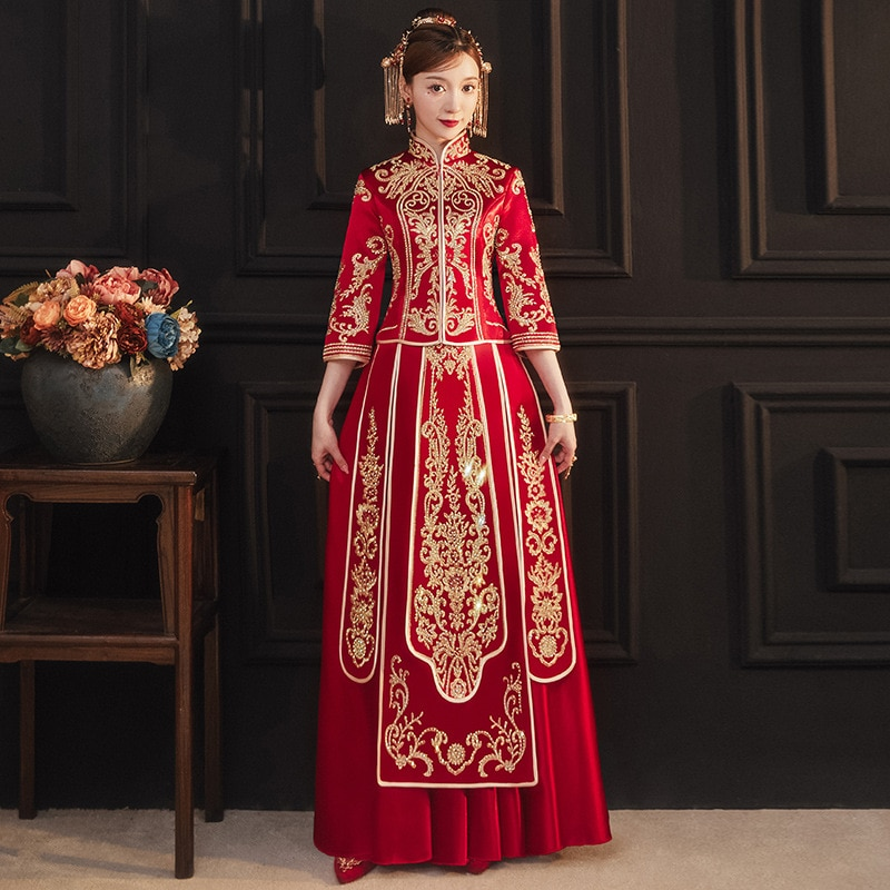 Womens Chinese Style Wedding Cheongsam Skirt Suit 2021 Autumn Print Embroidery Sequins Long Plus Size Elegant Luxury Clothing