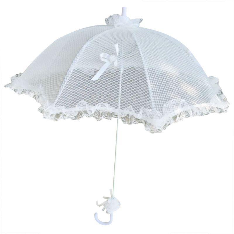 Свадебный свадебный зонтик, белый ажурный кружевной романтичный реквизит для фотосессии, декоративный зонтик для девушки с цветами